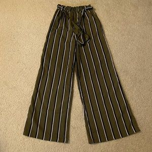 Forever 21 Olive Green Striped Pants